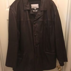 Brown leather coat from Wilsons Leather M. Julian